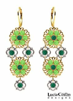 Victorian Style Chandelier Earrings by Lucia Costin with Filigree Ornaments and Dots, Adorned with Dark Green and Light Green Swarovski Crystals; 24K Yellow Gold Plated over .925 Sterling Silver Lucia Costin. $90.00. Mesmerizing enough to wear on special occasions, but durable enough to be worn daily. Lucia Costin flower shaped drop earrings. Dangle ornaments accented with floral design. Unique jewelry handmade in USA. Garnished with emerald - green and peridot Swarovski crystals
