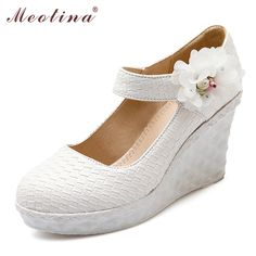 Meotina Shoes Women Wedges White Wedding Pumps Bridal Shoes Mary Jane Platform Wedges Fashion Flower Party Pumps Lady Shoes Pink