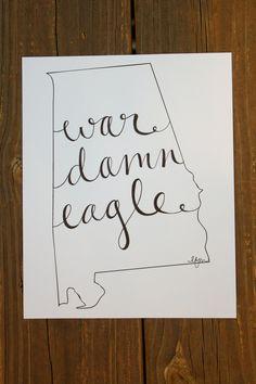 Alabama: War Eagle Print. $15.00, via Etsy.