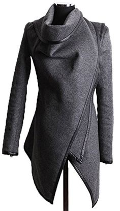 Caflin Womens Plus Size WoolBlend Irregular Trench Coat With Zip greyS ** Click on the image for additional details.