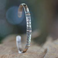 Hypnotic Moon' - Balinese Silver Cuff Bracelet with 18k Gold Accents #boho #jewelry