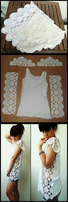 DIY Crochet Doily or Lace Table Runner Tank Top Side Panels (leave out the floppy 'pauldrons'.) DIY Crochet Doily or Lace Table Runner Tank Top Side Panels (leave out the floppy 'pauldrons'. Crochet Diy, Diy Crochet Doilies, Doilies Crafts, Crochet Shirt, Crochet Ideas, Crocheted Lace, Crochet Woman, Lace Doilies, Sewing Hacks