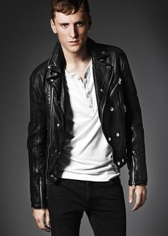 A washed leather zip detail biker jacket from the Brit Rhythm capsule collection from Burberry