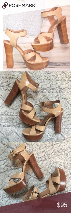 Joie platform heels Gorgeous nude platform heels from Joie. Worn twice ! Size 8 , they do run a little narrow . In love with these & they are so comfortable , Joie is known for making heels with the right amount of cushion in them. But pregnancy has changed my foot size so time to part with them ! Joie Shoes Heels
