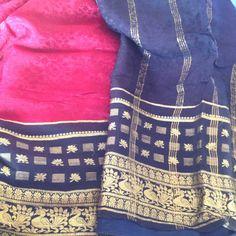 Maroon Navy Blue Gold Pure Crepe Silk Sari Broad by VintageVandu, $29.99
