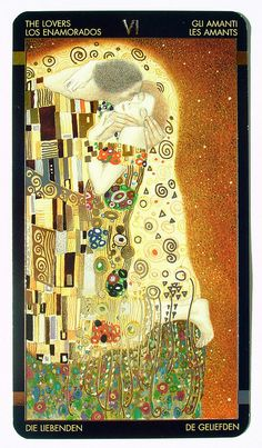 The Lovers Card from the Klimt Tarot - this is one of the most beautiful Tarot decks I have ever seen.