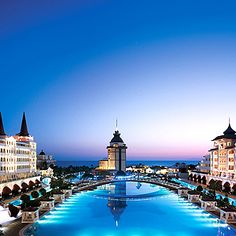 Mardan Palace is an amazing luxury hotel located in Antalya, Turkey. The Palace was constructed by Azerbaijani businessman Telman Ismailov. Beautiful Hotels, Beautiful Places, Amazing Places, Amazing Hotels, Places Around The World, Around The Worlds, Places To Travel, Places To Go, Istanbul