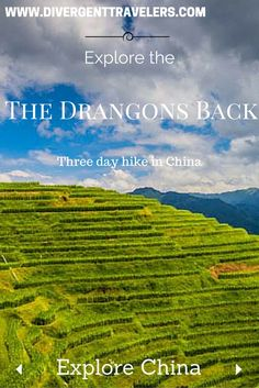 Explore the Dragons back, One of the most famous hiking adventures in the world! Our Three day hike took us through  minority villages and rice terraces north of Guilin China, places that never see tourist!  Click to read the full adventure travel blog post Hiking the Rice Terraces in Guilin China http://www.divergenttravelers.com/hiking-rice-terraces-guilin-day-1/