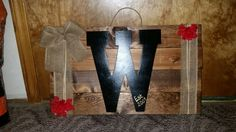 Monogram letter board with burlap