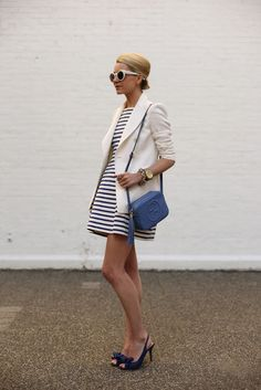 @Blair Eadie // Atlantic Pacific  Atlantic-Pacific: blue & white stripes with bows on toes. Shoes c/o BHLDN