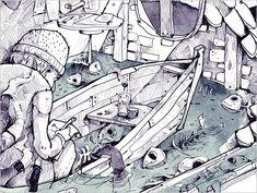 """H. P. Lovecraft """"DAGON"""" - Die Kurzgeschichte DAGON ist ein Testament, dass von einem Morphium abhängigen Mann geschrieben wurde. Darin erzählt er von einem mysteriösen Erlebnis, welches ihn drogenabhängig und zum Selbstmord getrieben hat. - (Digitale Illustration und Aquarell) Illustrator, Book Illustration, Short Stories, Watercolor, Books, Art, Pen And Wash, Art Background, Watercolor Painting"""