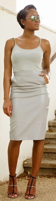 Grey Faux Leather Skirt