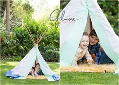 Teepee Mini Sessions! Newport Beach Children's Photographer, CA, Cali, California, Outdoors, Fun, Adorable, Cute, Summer, Pretty Day, Sunny, Brothers, Boys, Teepee, Mint, Grey, Blue, Tan Rug, Fuzzy Rug, Checkered Shirts, Coral Pants, Blue Shorts, Love, Siblings, Family, Grass, Yard, Playing, Laughter, Tent, Hiding, Peeking, Smiling, Cute Smiles  GilmoreStudios.com