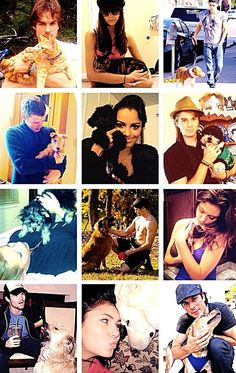 The Vampire Diaries cast and all their animals! Love them, love their pets
