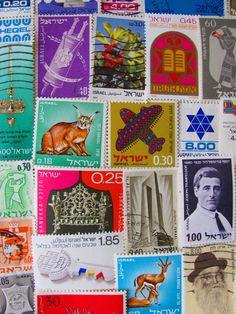 Shalom 50 Vintage Israeli Postage Stamps Holy Land by preciousowl on Etsy.com