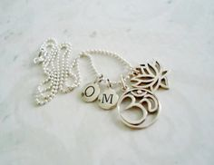 Sterling Silver Charm Necklace OM Letters