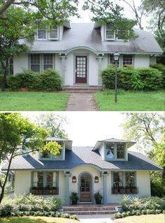 Fixer Upper - Chip and Joanna Gaines - Beanstalk Bungalow Cottage Exterior, Exterior House Colors, Exterior Design, Bungalow Exterior, Bungalow Landscaping, Bungalow Homes, Landscaping Tips, Home Exterior Makeover, Exterior Remodel