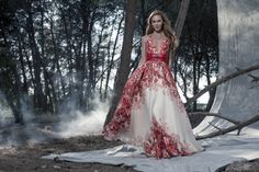 Red and white Printed Cantillana gown available at Elilhaam by Isabel Sanchis http://www.elilhaam.com/designers/isabel-sanchis/cantillana-gown-10510069.html