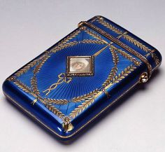 Antique Vintage CIGARETTE CASE Russia, Saint-Petersburg, 1906. Faberge firm. Gold, silver, brilliants, rose-cut diamonds, crystal, bone (?). Enamel on guilloche, watercolours, carving. Belonged to Emperor Nicholas II