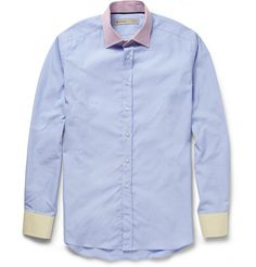 Etro Contrast-Collar Cotton Shirt   MR PORTER