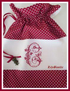 Pochon lingerie... broderie point de croix... cross stitch...Créa Lilybasilic sur Ebay