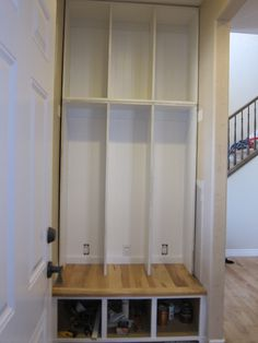 Malisa's Mudroom - 3 - bottom lockers are MDF, top cabinet is melamine The Sawdust Diaries Two coats of paint. She chose to use the same paint that the existing trim was painted in: Kwal-Howell Hi-Hide White in semi-gloss, builder grade– with Floetrol added for extra time and w