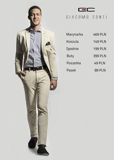 Stylizacja Giacomo Conti: beżowa marynarka ANTONIO 15/28 SM, koszula ENRICO SLIM 14/12/16, spodnie RICCARDO 15/11K, buty 2644