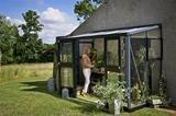 Juliana Veranda væg-drivhus 4,4 m2 alu./sort 3 mm. hærdet glas