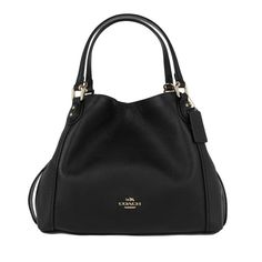 Coach Tasche – Edie 28 Pebbled Leather Shoulder Bag Black – in schwarz – Henkeltasche für Damen