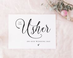 Printable To The Usher Instant download  wedding by SweetPeaSunday