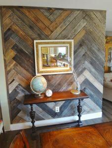 herringbone wood wall DIY