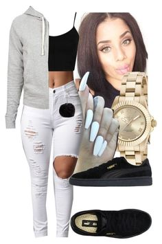 """"" by foreverkaylah ❤ liked on Polyvore featuring Invicta, Topshop, James Perse, Puma and Nine West"