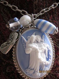 "Beautiful Victorian Angel Portrait Cameo white gold plated necklace ""FLY AWAY"""