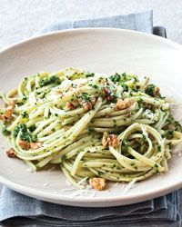 Linguine with Broccoli Rabe and Walnut Pesto~ this recipe has an earthy taste- delicious and perfect for a quick and easy meal.