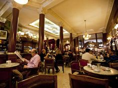 Cafe Tortoni, Buenos Aires | As Argentina's oldest café, this historic hangout has been a gathering spot for artists, politicians and musicians since the late 1800s. You can't leave without ordering the local favorite -- chocolate con churros, crunchy fried dough dipped into thick hot chocolate.|