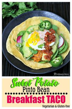 Start your day off right with this fantastic Sweet Potato Pinto Bean Breakfast Taco. Say goodbye to bland vegetarian dishes. It's healthy and delicious! Mexican Breakfast Recipes, Breakfast Tacos, Brunch Recipes, Mexican Food Recipes, Ethnic Recipes, Brunch Items, Party Food And Drinks, Pinto Beans, Recipe Please