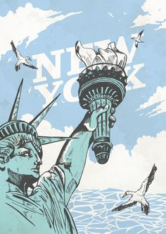 New York Print - Statue of Liberty #illustration #print #poster #NYC