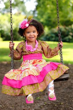 Little Girls Boho Maxi Skirt and Peasant Top Handmade by pinkmouse, $59.00