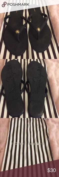 Henri Bendel sandals I wore it for a week in Vegas but they are a little tight on me. Size 8. All black with gold Henri Bendel Logo henri bendel Shoes Sandals