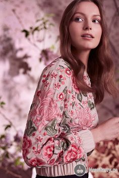 d87da2265e This   Needle   Thread   Rose Beige Floral Embroidered Bomber Jacket  features allover floral embroidery with an elastic waist and cuffs.