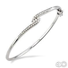 Ctw Round Cut Diamond Bangle in White Gold White Gold Diamond Bracelet, Diamond Bracelets, Bangle Bracelets, Diamond Earrings, Fancy Jewellery, Silver Jewellery, Ladies Bangles, Small Earrings, Bracelet Designs