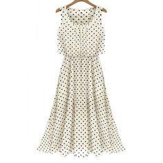 $16.98 Vintage Scoop Neck Sleeveless Polka Dot Chiffon Women's Dress