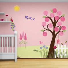 "Flower Wall Stencils, Tree Stencil, Butterfly Stencils, a perfect combo for painting a girls room. Paint an indoor paradise with this designer flower theme stencil kit. It is the perfect tool for decorating your girl's room. A giant tree, massive flowers and lots of cute creatures will turn your little girl's room into an enchanting wonderland. Nowhere else will you find wall murals for kids like this! Create wall murals for kids using the ""Splendid Garden"" Flower Theme Stencil Kit. In the…"
