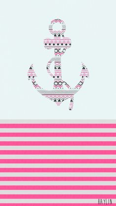 anchor, cute, girly, pink, stripes, wallpaper