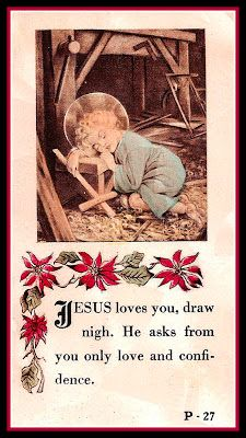 Holy Cards For Your Inspiration: Sleep With Crosses, Wednesday of the Fourth Week of Lent Vintage Holy Cards, Vintage Christmas Cards, Christmas Art, Religious Pictures, Religious Art, Christian Artwork, Catholic Prayers, Prayer Cards, Blessed Mother