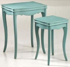 Love these teal nesting tables!