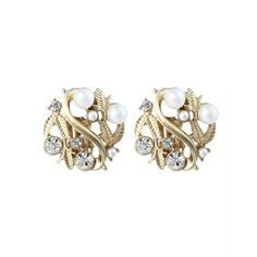 Clip On Leaf Motif Pearl and Rhinestones Statement Earrings