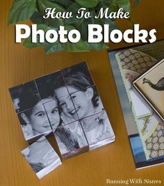DIY Keepsake Photo Blocks - This step by step craft tutorial shows how to turn six photos into a tabletop photo puzzle! Simply cut pictures into squares and mount them onto wooden cubes with ModPodge to make Photo Blocks! Great gift craft! Fun for Father's Day, Mother's Day, or Grandparents' Day!