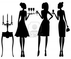 Vector illustration of three young elegant women at a cocktail party   Stock Photo