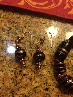 Black and copper beaded earrings